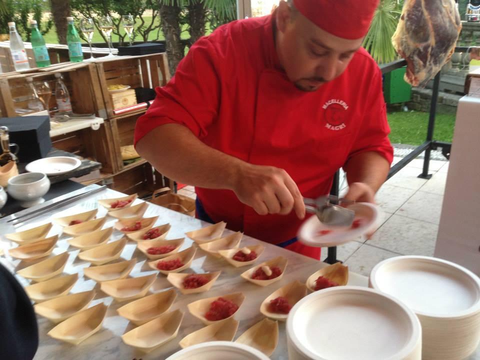 Battuta Priula della macelleria Magri presentata all'evento Street food rist Da Vittorio